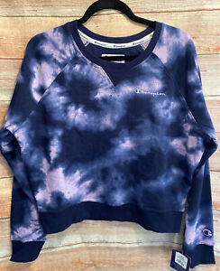 CHAMPION Women's Sweatshirt Cloud Burst Campus French Terry Tie Dye Crop Sz L