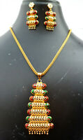 Indian 22K Gold Plated 11 Inch Long Fashion Weddings Necklace Pendant Set H