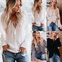 Womens Chiffon Lace Up Off Shoulder Tops Blouse Ruffle Long Sleeve T-Shirt Tee