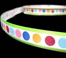 """3 Yds Fancy Pants About a Girl Colorful Polka Dot Green Stripe Satin Ribbon 5/8"""""""