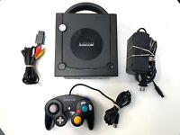 Jet Black Nintendo GameCube System Console w/ Original Controller & All Cables !