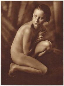 1920s Vintage French Asian Female Risque Art Deco Riess Photo Gravure Print