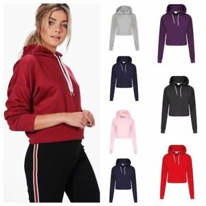 New Womens Girls Plain Casual Crop Top Pullover Hooded Sweatshirt Jumper Hoodie
