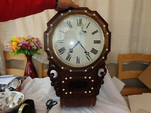 Victorian Rosewood Drop Dial Wall Clock with Key Working Order