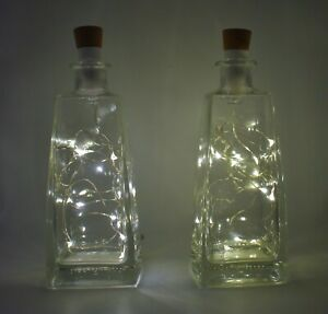 2 Glass Bottles With Rechargeable Lights