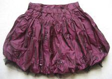 GIRL2GIRL Rüschen Mädchenrock Gr. 6-7 Jahre in dunkel lila schwarz mit Gummizug