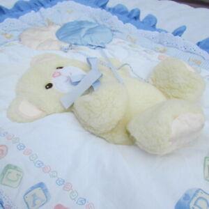 Lambs & Ivy Nursery Decor Teddy Bear Quilt Diaper Bag Valance 3 Pieces Baby Boy