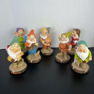 "Disney Snow White 7 Seven Dwarfs 9"" Garden Gnome Statue Collection Complete NWT"