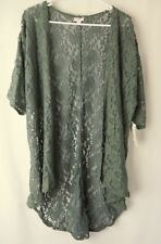 LuLaRoe Lindsay Kimono 3/4 Sleeve Green Lace Size Small  #6794