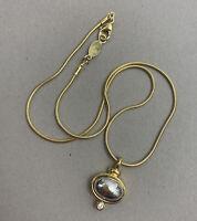 Liz Claiborne Pendant Necklace Snake Chain Cabochon Rhinestone Goldtone Dainty