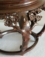 SUPERB RARE CHINESE ANTIQUE CARVED FLORAL WOOD STAND FOR FISH BOWL/VASE/STATUTE