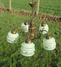 Vintage Green Glass Art Deco Shades Chandelier Light Lamp Chandelier Brass Gilt