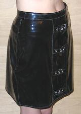 Noir Brillant PVC Mini Jupe Avec Imprimé Léopard Panneau