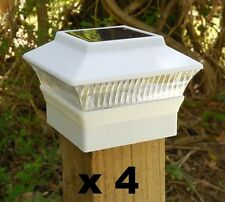 "4 Solar Fence Cap Post Lights White 3 5/8"" x 3 5/8"" (for 4x4 Wood Posts Only) wd"