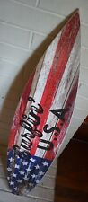 SURFING USA Surfboard Sign 3FT Red White Blue Wood Plank Flag Beach Surfer Decor