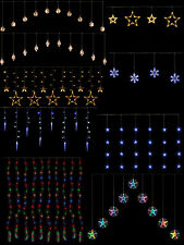 Hanging Christmas Light Curtain Icicle Star Snowflake Outdoor Window Decoration