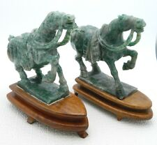 """VTG Chinese Hand Carved Natural Green Jade Pair of Horses on Wood Stands 5"""" Tall"""