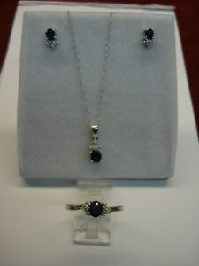 SWEET 10K WHITE GOLD BLUE TOPAZ & ACCENT DIAMONDS NECKLACE, EARRINGS, &RING SET