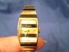 Lucerne Vintage Swiss Striped Bracelet Wrist Watch Stainless Steel Quartz