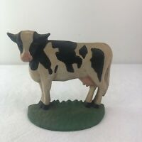 Antique Vintage Cast Iron Cow Doorstop Black White Milking Heavy Farm House
