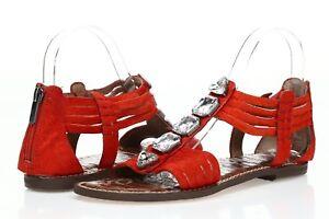 Womens SAM EDELMAN red w/ stones leather / cow fur sandals sz. 7.5-11