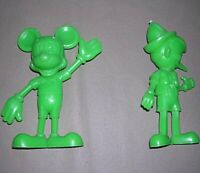 2 Green Figures from Louis Marx Walt Disney Productions Mickey Mouse & Pinocchio