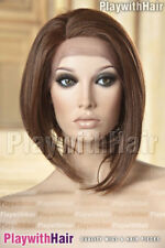 Sleek Sophisticated Bob Wig Lace Front Heat Safe Mono Part 3Tone Brown