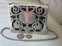 Antique Art Nouveau Silver Frame Black Leather Card Case Coin Purse Wallet #2