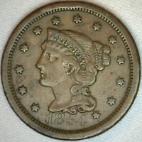 1854 Braided Hair Liberty Head Large Cent US Copper Type One Cent Coin VF K41