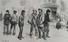 """1886 Large Antique Engraving - """"The Unemployed of London"""" - Artist Fred Barnard"""