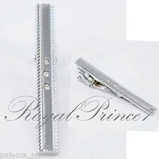 Men's Gentleman Silver 3 Crystal Metal Necktie Tie Clip Bar Clasp TC31
