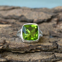 Square Cut Peridot Quartz 925 Sterling Silver Handmade Birthstone Gift Ring