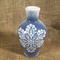 Studio Art Ceramic Pottery Vase Signed Doily Blue Glaze Snowflake