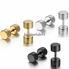 3 Pairs Men Women Stainless Steel Doublesided Dumbbell Round Earrings Ear Studs