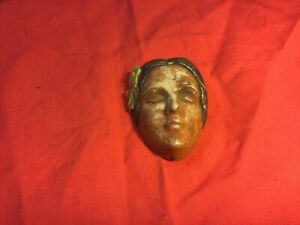 "Bisque Lady Face Mask Wall Plaque 3.25"" Long Vintage"