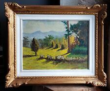 TABLEAU signé Peinture huile isorel HSP paysage campagne montagne nature soleil