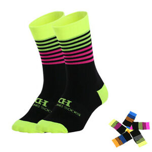 Pro Cycling Socks Mens Womens Ridiing Bicycle Sports Ankle Socks MTB Green Pink
