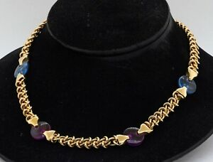 Heavy Italy 14K yellow gold 16mm diameter topaz & amethyst disc chain necklace
