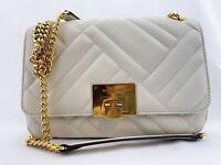 NWT Michael Kors Vivianne Medium Shoulder Flap Lamb Leather Bag Vanilia