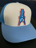 HOUSTON OILERS NFL VINTAGE BLUE EMBROIDERED LOGO HAT CAP SNAPBACK TRUCKER A7 NEW