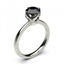 Real 1 ct Black Natural Diamond Ring Solid 14k White Gold Engagement Ring