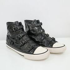 ASH Sneakers High Top Womens US9.5 EU40 Virgin 4 Buckle Black Patent Leather