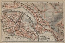 MONTREUX. VEVEY. Clarens. town city plan. Switzerland Suisse Schweiz 1920 map