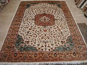 Exclusive Kash Floral Medallion Area Rug Wool Silk Hand Knotted Carpet (9 x 6)'