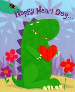 Happy Valentine's Day Dinosaur Dinosaurs & Heart Theme Hallmark Greeting Card