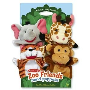 Melissa & Doug Zoo Friends Hand Puppets, Four Themed Animals, Kids Age 2 Years +