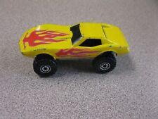 1975 Hot wheels Corvette Coupe 4x4 Monster Wheels Yellow w Flames 1/64 Diecast