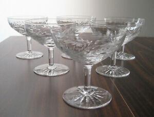 "KENT PHILLIPS Champagne Sherbets 4"", SET of SIX, PHILLIPS CUT GLASS CO, BIRKS"