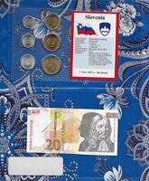 Slovenia 1992 20 Tolarjev UNC P12 & 1992-1996 UNC 5,2,1 Tolar 50,20,10 Stotinov