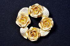 Vintage Judy Lee Rose Wreath Brooch 3D Gold tone signed art deco 1960s